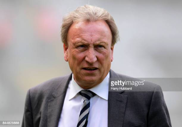 Neil Warnock manager of Cardiff City before the Sky Bet Championship match between Fulham and Cardiff City at Craven Cottage on September 9 2017 in...