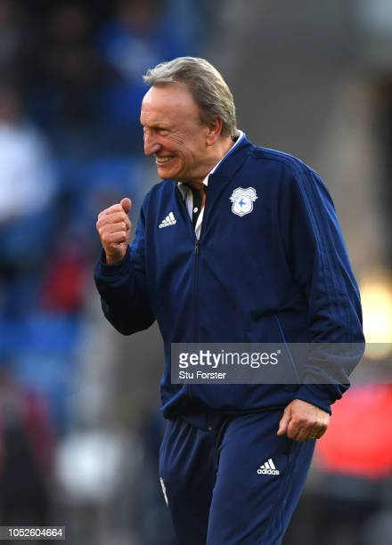 Neil Warnock Manager of Cardiff City celebrates victory after the Premier League match between Cardiff City and Fulham FC at Cardiff City Stadium on...