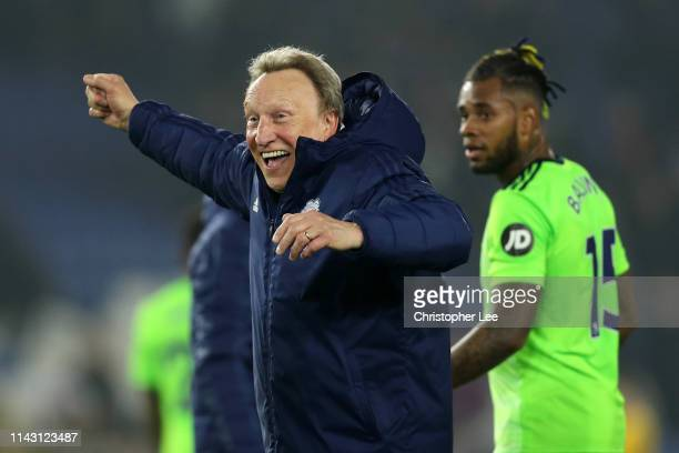 Neil Warnock, Manager of Cardiff City celebrates victory after the Premier League match between Brighton & Hove Albion and Cardiff City at American...