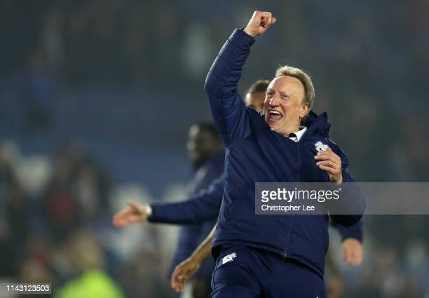 Neil Warnock Manager of Cardiff City celebrates victory after the Premier League match between Brighton Hove Albion and Cardiff City at American...