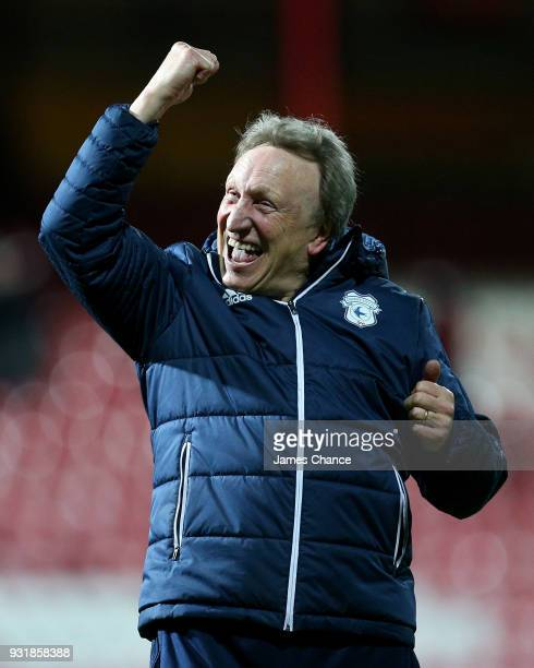Neil Warnock Manager of Cardiff City celebrates victory after the Sky Bet Championship match between Brentford and Cardiff City at Griffin Park on...