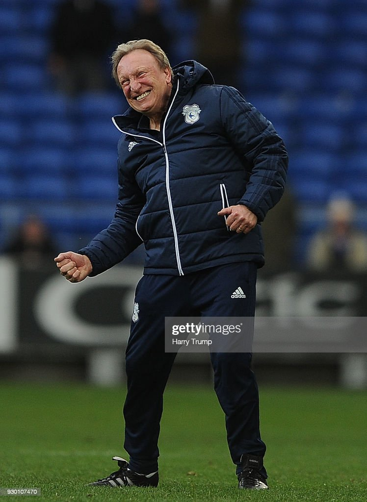 Neil Warnock, Manager of Cardiff City celebrates victory at the final whistle during the Sky Bet Championship match between Cardiff City and Birmingham City at the Cardiff City Stadium on March 10, 2018 in Cardiff, Wales.