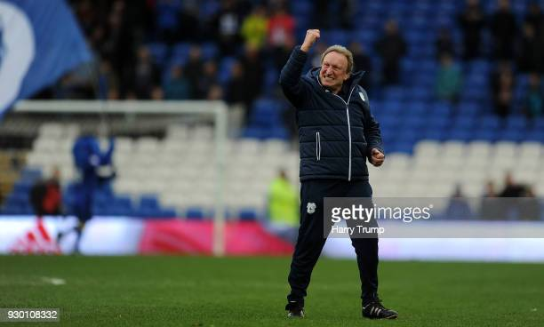 Neil Warnock Manager of Cardiff City celebrates victory at the final whistle during the Sky Bet Championship match between Cardiff City and...