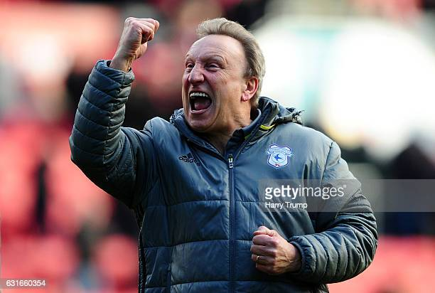Neil Warnock Manager of Cardiff City celebrates victory during the Sky Bet Championship match between Bristol City and Cardiff City at Ashton Gate on...