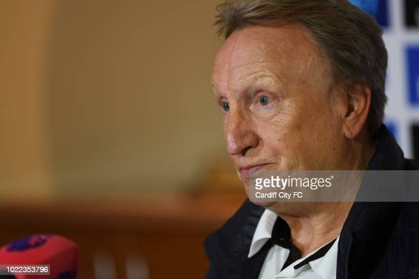 Neil Warnock manager of Cardiff City during the Cardiff City press conference at the The Vale Hotel on August 24 2018 in Cardiff Wales