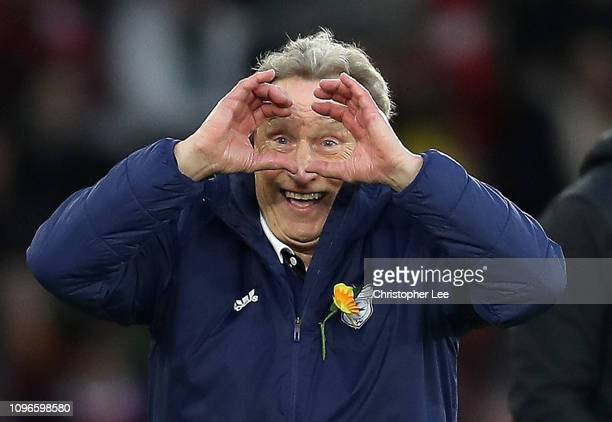 Neil Warnock Manager of Cardiff City gestures to the linesman during the Premier League match between Southampton FC and Cardiff City at St Mary's...