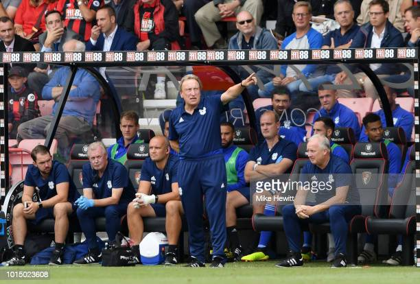 Neil Warnock Manager of Cardiff City gives his team instructions during the Premier League match between AFC Bournemouth and Cardiff City at Vitality...
