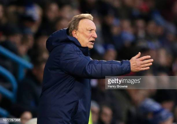 Neil Warnock Manager of Cardiff City gives his team instructions during the FA Cup Third Round match between Gillingham and Cardiff City at...