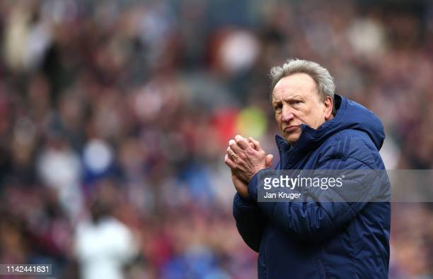 Neil Warnock Manager of Cardiff City looks on after the Premier League match between Burnley FC and Cardiff City at Turf Moor on April 13 2019 in...