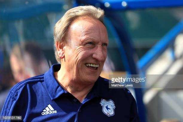 Neil Warnock Manager of Cardiff City looks on during the Premier League match between Huddersfield Town and Cardiff City at John Smith's Stadium on...