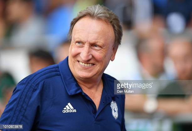 Neil Warnock Manager of Cardiff City looks on during the PreSeason Friendly match between Cardiff City and Real Betis at Cardiff City Stadium on...