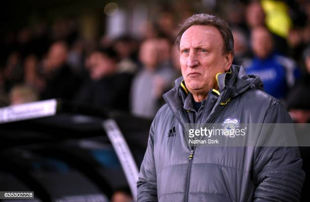 Neil Warnock manager of Cardiff City looks on during the Sky Bet Championship match between Derby County and Cardiff City at the iPro Stadium on...