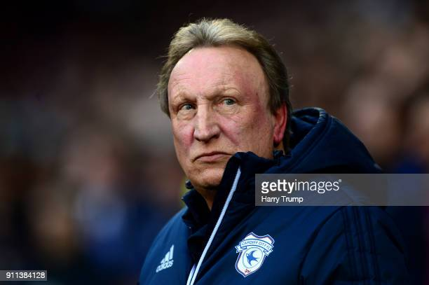 Neil Warnock Manager of Cardiff City looks on prior to The Emirates FA Cup Fourth Round between Cardiff City and Manchester City on January 28 2018...
