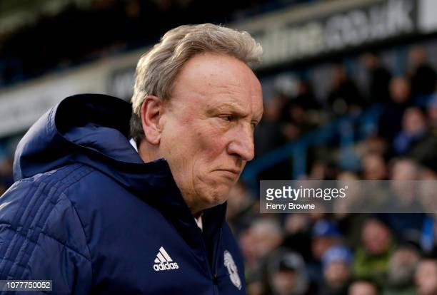 Neil Warnock Manager of Cardiff City looks on prior to the FA Cup Third Round match between Gillingham and Cardiff City at Priestfield Stadium on...