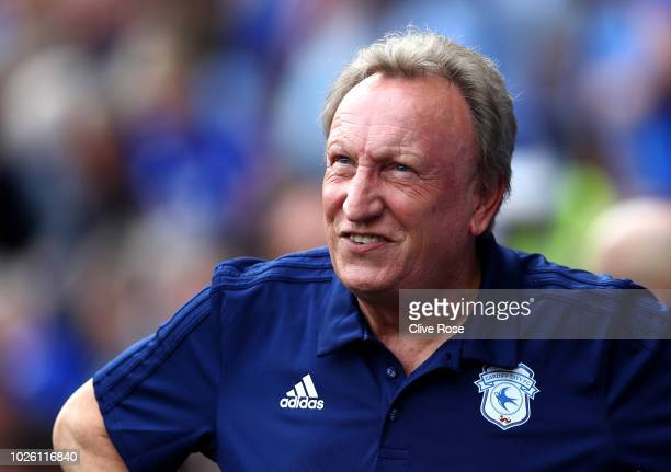 Neil Warnock Manager of Cardiff City looks on prior to the Premier League match between Cardiff City and Arsenal FC at Cardiff City Stadium on...