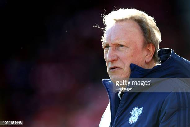 Neil Warnock Manager of Cardiff City looks on prior to the Premier League match between Liverpool FC and Cardiff City at Anfield on October 27 2018...