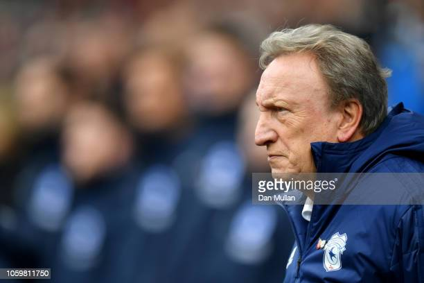 Neil Warnock Manager of Cardiff City looks on prior to the Premier League match between Cardiff City and Brighton Hove Albion at the Cardiff City...
