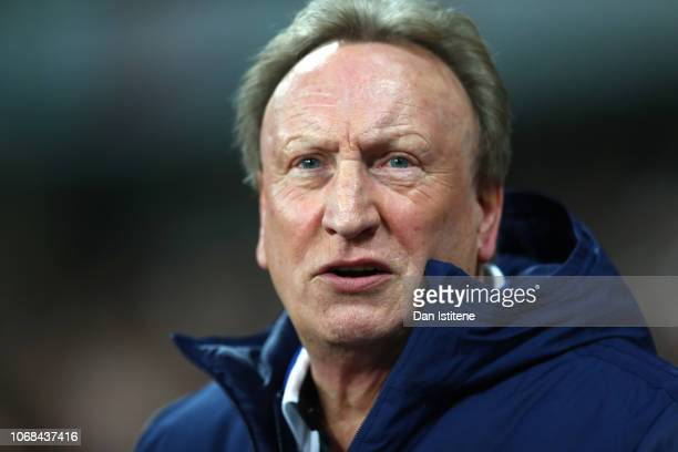 Neil Warnock Manager of Cardiff City looks on prior to the Premier League match between West Ham United and Cardiff City at London Stadium on...