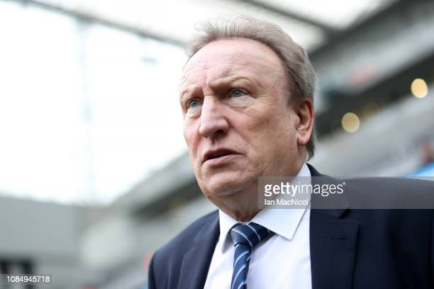 Neil Warnock Manager of Cardiff City looks on prior to the Premier League match between Newcastle United and Cardiff City at St James Park on January...