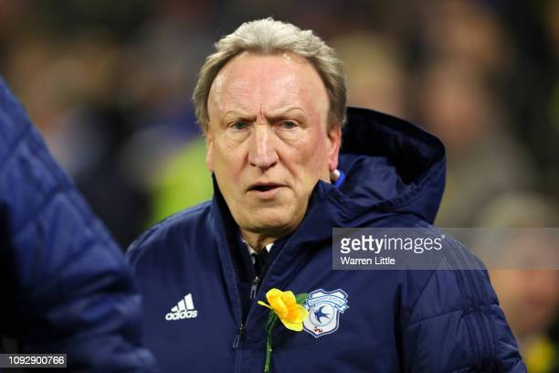 Neil Warnock Manager of Cardiff City looks on prior to the Premier League match between Cardiff City and AFC Bournemouth at Cardiff City Stadium on...