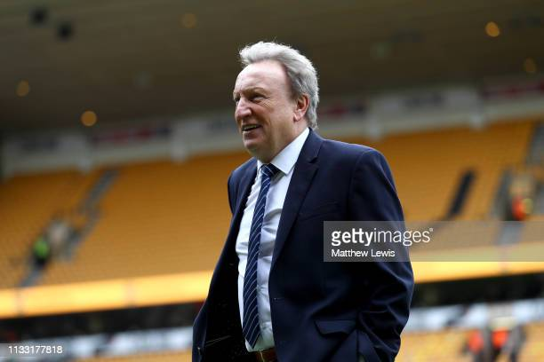 Neil Warnock Manager of Cardiff City looks on prior to the Premier League match between Wolverhampton Wanderers and Cardiff City at Molineux on March...