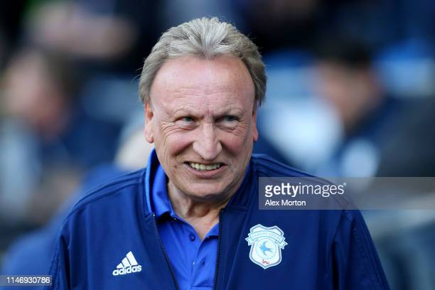 Neil Warnock, Manager of Cardiff City looks on prior to the Premier League match between Cardiff City and Crystal Palace at Cardiff City Stadium on...