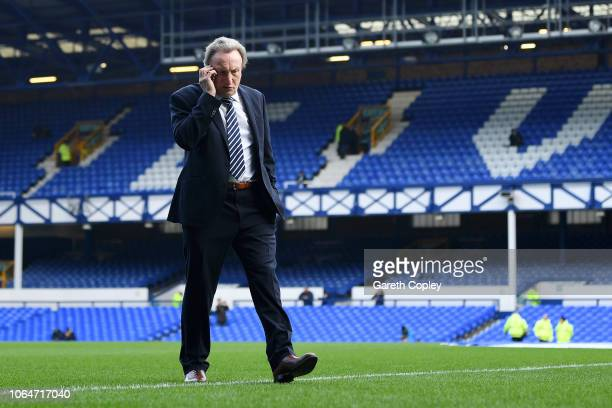 Neil Warnock Manager of Cardiff City prior to the Premier League match between Everton FC and Cardiff City at Goodison Park on November 24 2018 in...
