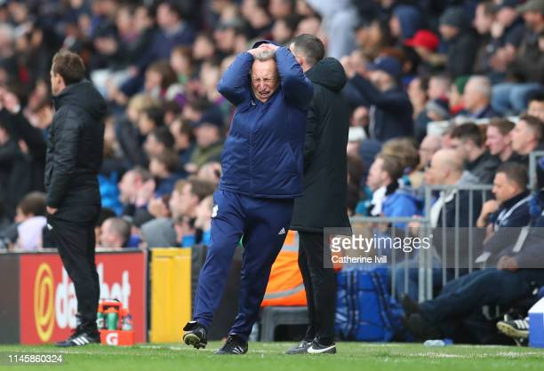 Neil Warnock manager of Cardiff City reacts after his team miss a chance during the Premier League match between Fulham FC and Cardiff City at Craven...