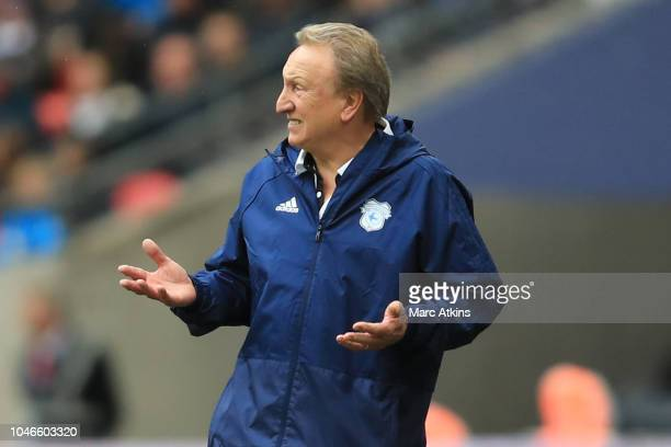 Neil Warnock Manager of Cardiff City reacts during the Premier League match between Tottenham Hotspur and Cardiff City at Tottenham Hotspur Stadium...