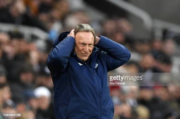 Neil Warnock Manager of Cardiff City reacts during the Premier League match between Newcastle United and Cardiff City at St James Park on January 19...