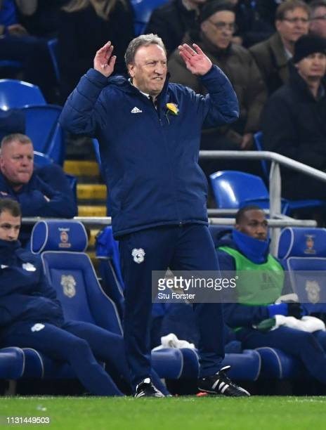 Neil Warnock Manager of Cardiff City reacts during the Premier League match between Cardiff City and Watford FC at Cardiff City Stadium on February...