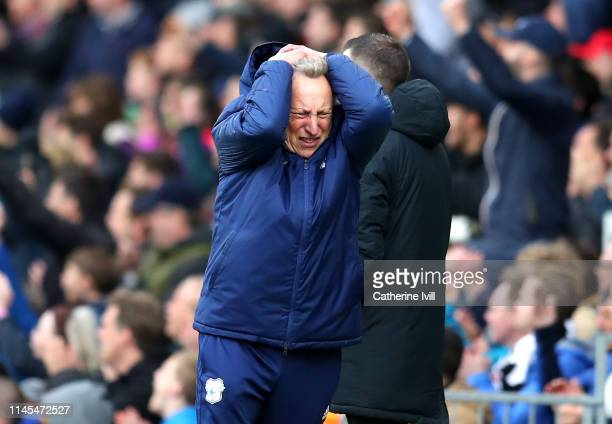 Neil Warnock Manager of Cardiff City reacts during the Premier League match between Fulham FC and Cardiff City at Craven Cottage on April 27 2019 in...