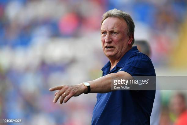 Neil Warnock Manager of Cardiff City reacts during the PreSeason Friendly match between Cardiff City and Real Betis at Cardiff City Stadium on August...