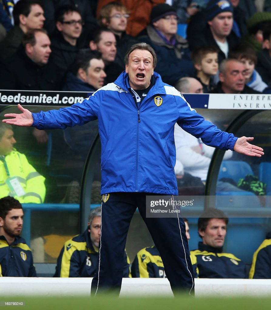 Neil Warnock, manager of Leeds United gives out instructions during the npower Championship match between Leeds United and Huddersfield Town at Elland Road on March 16, 2013 in Leeds, England.