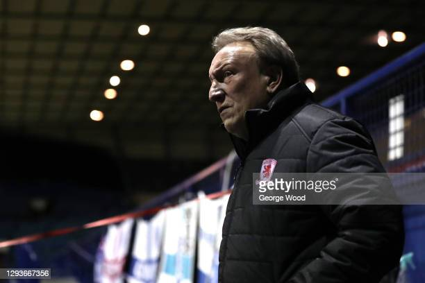 Neil Warnock, manager of Middlesbrough looks on ahead of the Sky Bet Championship match between Sheffield Wednesday and Middlesbrough at Hillsborough...