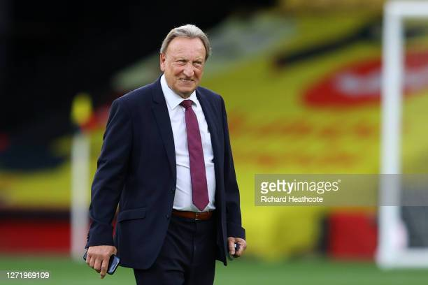 Neil Warnock, Manager of Middlesbrough looks on prior to the Sky Bet Championship match between Watford and Middlesbrough at Vicarage Road on...