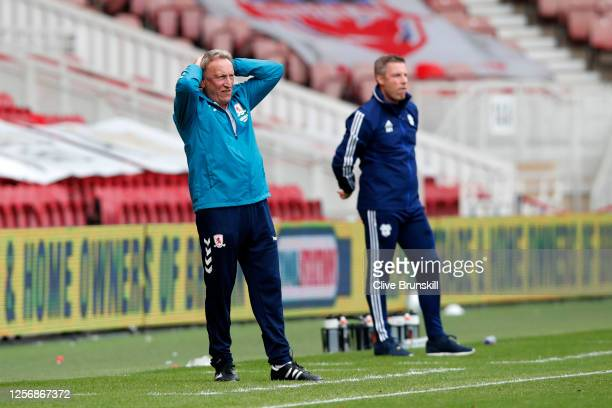 Neil Warnock of Middlesborough reacts during the Sky Bet Championship match between Middlesbrough and Cardiff City at Riverside Stadium on July 18,...