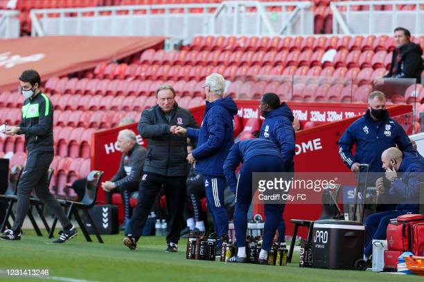 Neil Warnock of Middlesbrough and Mick McCarthy, Manager of Cardiff City during the Sky Bet Championship match between Middlesbrough and Cardiff City...