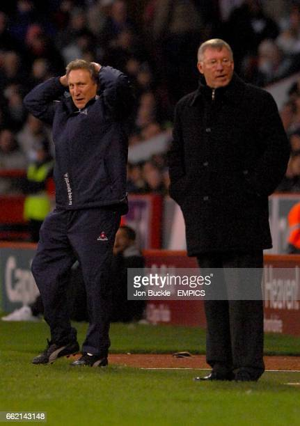 Neil Warnock Sheffield United manager and Alex Ferguson Manchester United manager look on