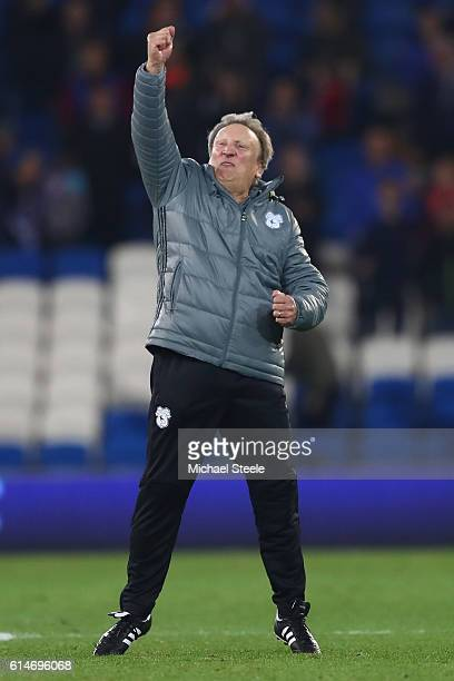 Neil Warnock the manager of Cardiff City celebrates his side's 21 victory during the Sky Bet Championship match between Cardiff City and Bristol City...