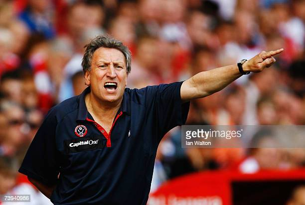 Neil Warnock the Sheffield United manager shouts instructions from the touchline during the Barclays Premiership match between Charlton Athletic and...