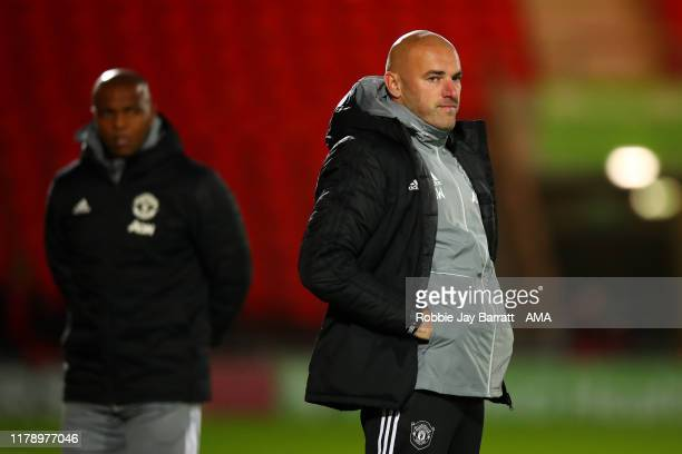 Neil Wood the head coach / manager of Manchester United U21 during the Leasingcom Trophy match fixture between Doncaster Rovers and Manchester United...