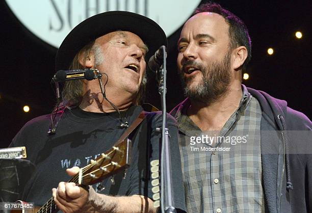 Neil Young and Dave Matthews performs during the 30th Annual Bridge School Benefit Finale at Shoreline Amphitheatre on October 23 2016 in Mountain...