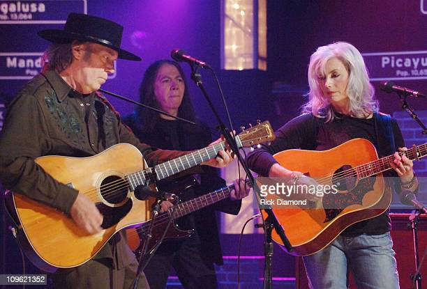 Neil Young and Emmylou Harris during ReAct Now Music Relief Hurricane Relief Benefit Concert Nashville at North Star Studios in Nashville Tennessee...