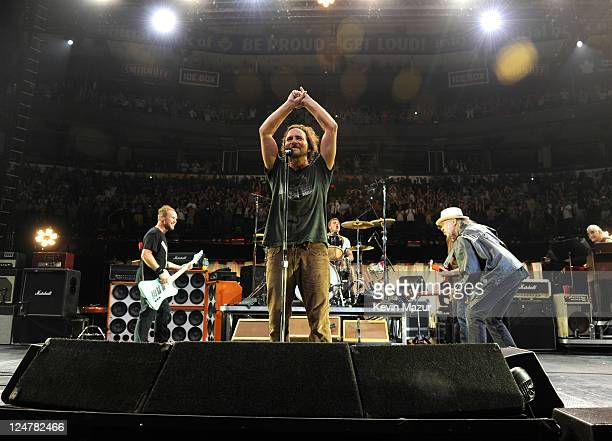 Neil Young and Pearl Jam perform at Air Canada Centre on September 11 2011 in Toronto Canada