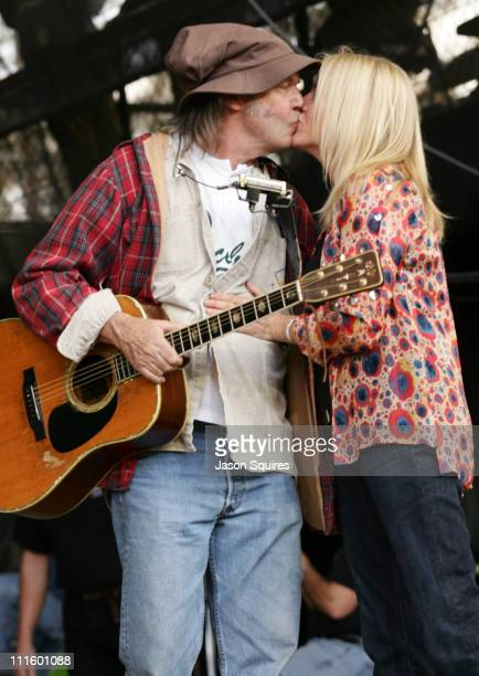 Neil Young and Pegi Young during 18th Annual Bridge School Benefit Concert Day Two October 24 2004 at Shoreline Ampitheatre in Mountain View...
