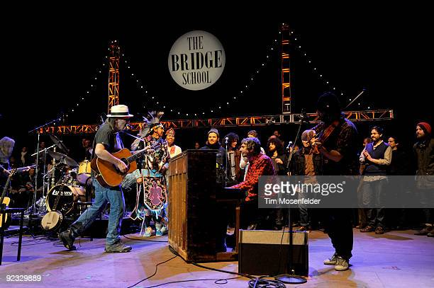 Neil Young Andrew Stockdale and Robin Pecknold perform the Finale of the 23rd Annual Bridge School Benefit at Shoreline Amphitheatre on October 24...
