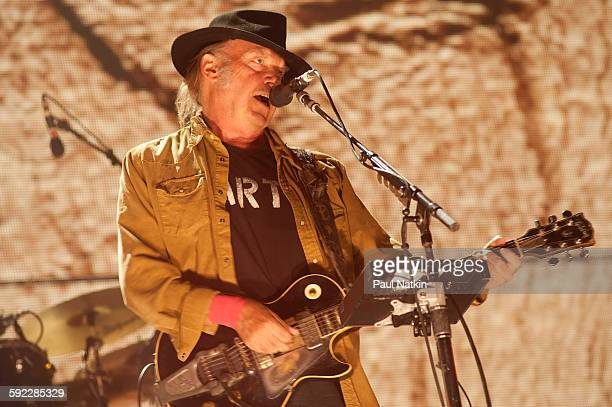Neil Young at Farm Aid at the First Merit Bank Pavillion at Northerly Island on September 19th, 2015 in Chicago, Illinois.
