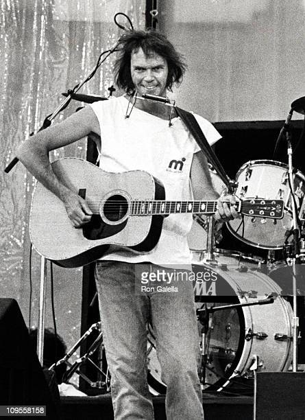 Neil Young during Live Aid Concert July 13 1985 at JFK Stadium in Philadelphia Pennsylvania United States