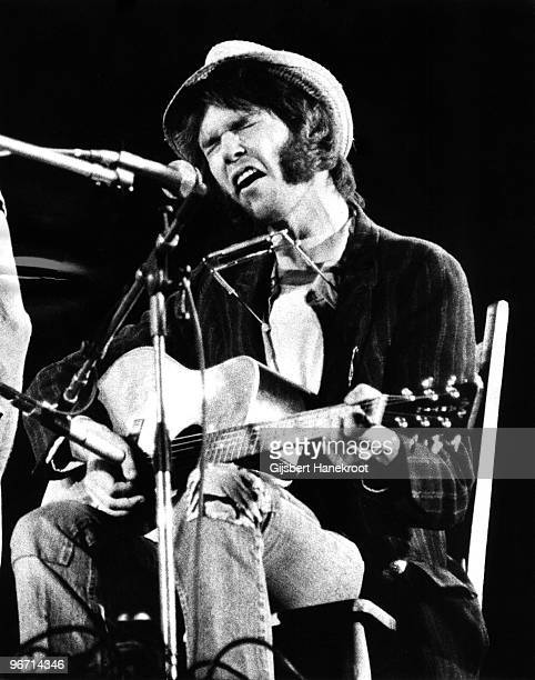 Neil Young from Crosby Stills Nash Young performs live on stage at Wembley Stadium on September 14 1974